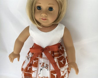 18 inch doll dress made of University of Texas  Longhorn fabric,  made to fit 18 inch dolls such as American Girl and similar 18 inch dolls