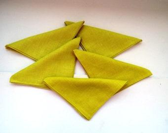Lemon Yellow Napkins Set of 5 Linen Napkins Cut Work Hems Spring Summer Table Decor Vintage Table Linens