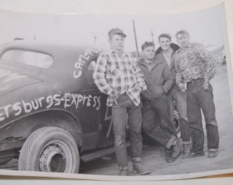 50s Hot Rod Drag Racing Rockabilly Photo 5x7 Denim Jeans Work Original Vintage Black & White Photo