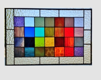 Stained glass panel window rainbow squared geometric abstract stained glass window panel modern window hanging 0121 17 x 11 1/4