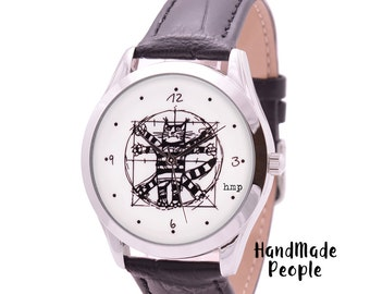 Sister Gift | Cat Lover Christmas Gift | Da Vinci Cat Watch | Leather Watches | Funny Gift for Boss | Best Friend Gifts | FREE SHIPPING