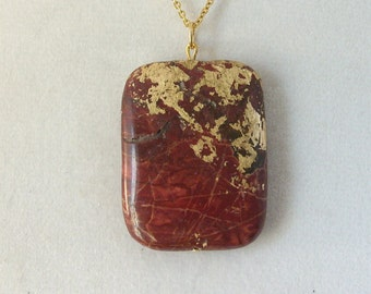 Gold Leaf Stone Pendant - Creek Jasper