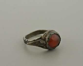 Handmade Silver Ring with Amber Glass Stone Size 4.