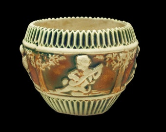 """Roseville Donatello • 4"""" Planter-Jardiniere-Bowl • Classic American Pottery • In NEAR MINT Condition • Highly Collectible, Unmarked • 1915 •"""
