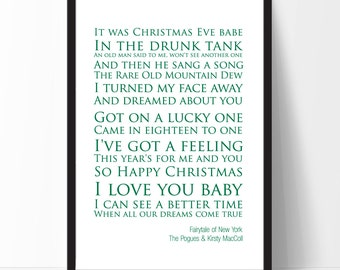 Fairytale of New York - The Pogues & Kirsty MacColl Lyrics Print. Christmas Gift Idea.