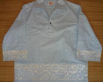 Mens Vintage 70s Iolani Tribal Tiki Floral Hawaiian Shirt - L - The Hana Shirt Co