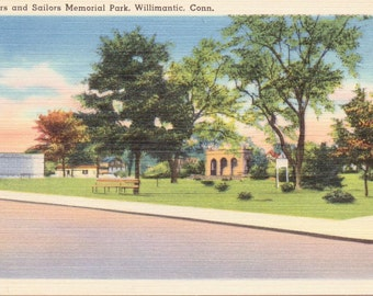 Willimantic, Connecticut, Soldiers and Sailors Monument - Linen Postcard - Unused (A6)
