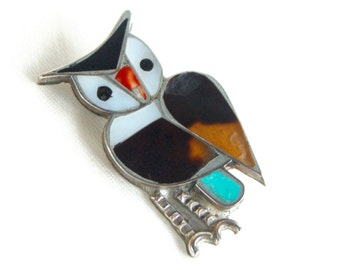 Owl Brooch Southwestern Pin Vintage Sterling Silver Turquoise Mother of Pearl Bird Jewelry