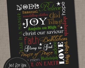 Christmas Wall Art Typography Subway Art - 16x20 -YOU PRINT Christmas Printables, Sign, Poster, Print, Christ, Baby Jesus, Carols, Religious