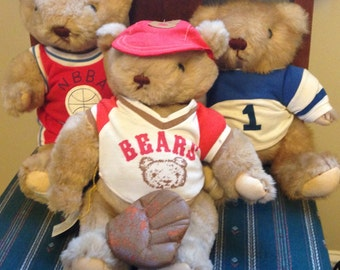 Collection of Vintage Gorham Bears - Sports Themed Jointed Collectable Teddy Bears