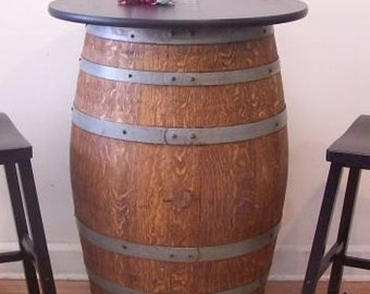 "Retired French Wine Barrel Table c/30"" Black Laminate Table Top-Wrought Iron Stand-FREE SHIPPING"