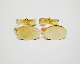 Vintage 1960s Gold Oval Cuff Links