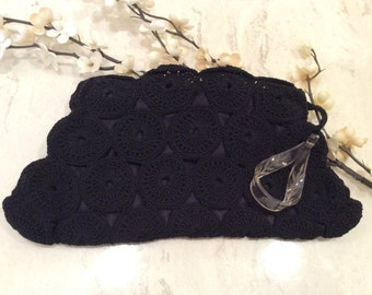 Vintage Black Crocheted Cord Clutch Purse Carved Lucite Handle,  Vintage Lucite, Vintage Cloth Purse, Vintage Handbag, Vintage Pocketbook