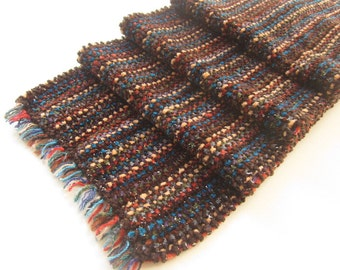 Soft Chenille Handwoven Scarf, Rich Autumn Colors