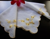 White Embroidered Hankie Gold Flowers and Trim Vintage Handkerchief