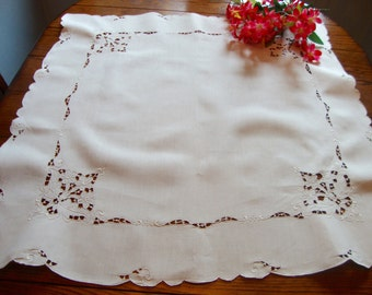 Linen Madeira Tablecloth Vintage Embroidered Tea Cloth Antique Table Linens