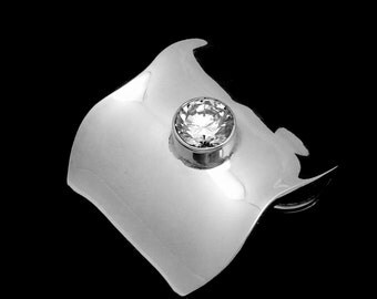 Vintage Batalla Taxco Mexican Sterling Silver Crystal Modernist Cuff Bracelet 22277