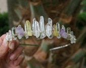 Wanderlust Tiara, quartz crown, raw crystal crown, mermaid crown, crystal headpiece
