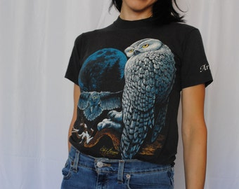 Cliff Bonamie Animal OWL print magical t-shirt 1990 vintage soft worn