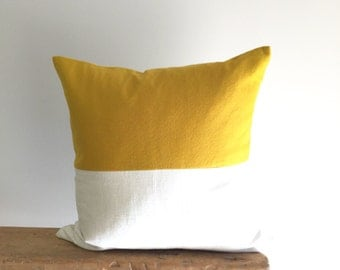 Color Block Pillow Cover/Mustard Yellow/Cream/Modern/Minimalistic/Stylish Accent Pillow/New Collection/Zigazag Studio Design