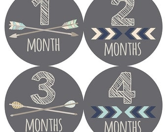 FREE GIFT, Tribal Monthly Baby Stickers, Month Stickers Tribal, Monthly Baby Stickers, Baby Boy, Gray, Grey, Arrows, Chevron, Tribal Nursery