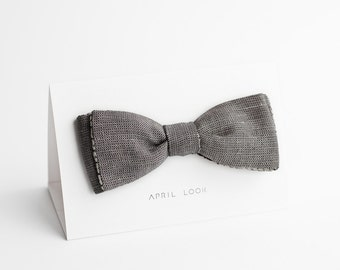 Chambray bow tie, grey bow tie - double sided