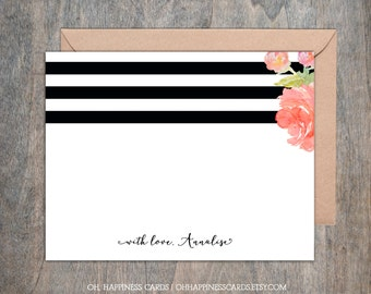 Personalized Notecards- Kate Spade, stationery, monogram, customized