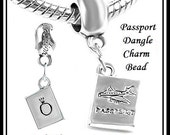 PASSPoRT with AIRPLANE (Front) ~ PAnD0RA Crown Symbol (Back) ~ TRAVeL ~ Excellent Quality ~ Dangle Charm Bead ~ fit European Bracelet - MD
