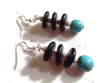 Turquoise Earrings - Turquoise Black White Jewelry - Sterling Silver Jewellery - Dangle - Mod - Fashion - Gemstone