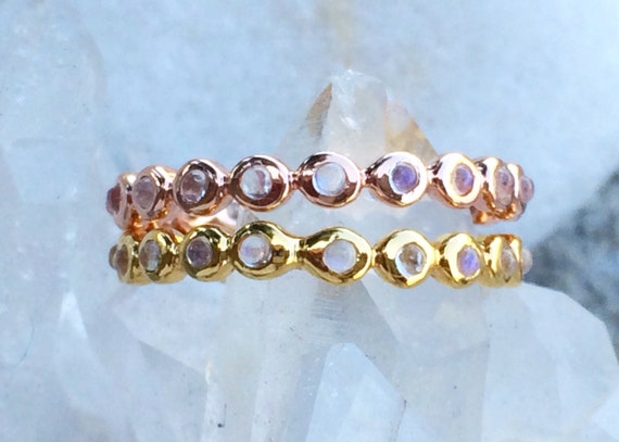 Blue moonstone and solid 18k gold eternity band, or solid 14k rose gold