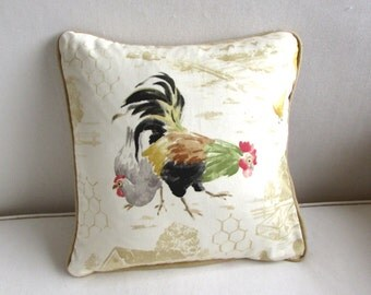 french country chickens decorative  pillow cover 14x14