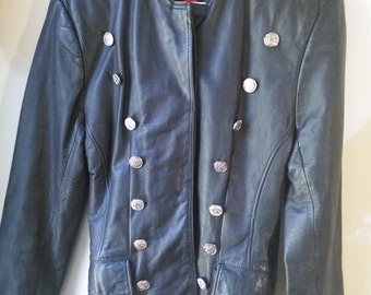 Vintage Black Leather Military Jacket