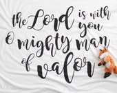 The Lord is in You, Baby Boy Scripture Blanket, Cuddle Swaddle-double layered jersey-Lightweight, Bible verse, Life verse, Gideon