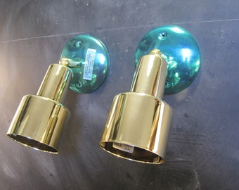 Pair of Vintage Swivel Directional Wall Ceiling Mount Brass Accent Light Fixtures Unused