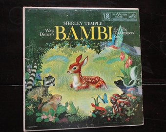 Vinyl Record-Walt Disney's Bambi-Shirley Temple-The Tootlepipers Zoo-1960