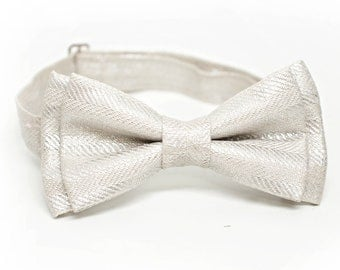 Silver Metallic Herringbone Linen Bow Tie for all ages- pre tied bowtie, wedding, ring bearer, ushers, church, photo prop, holiday gift