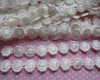 "14y Cotton Round Venice Lace 1/2"" Trim-Off White ""One Roll"""