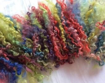 Hand Dyed British Teeswater Wool locks 54gms for Waldorf Dolls, Art Dolls, Blythe Dolls, Spinning, Felt Making 'Artists Palette 2' colorway