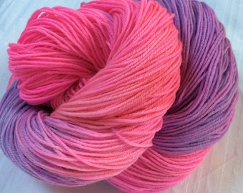 SALE Hand dyed Variegated 4ply Knitting or Crochet yarn. Sock Yarn. Hot pink and Mauve. 'Hi Vis Pink' Colorway