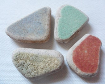 4 chunky coloured sea pottery - Lovely English beach find pieces