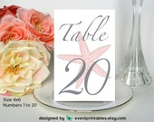 1 to 20 Printable Starfish Table Numbers, Coral 4x6 DIY Table Cards, Beach Wedding, INSTANT DOWNLOAD by Event Printables