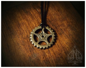 Silver Gear Cog pendant with feligree mod.1 -XL