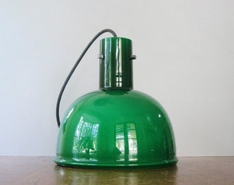 Vintage Lightolier Hanging Glass Pendant Lamp / Light - Green / White Cased