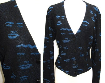 Vintage 1970s Missoni Faces Knit Sweater Blazer in Black with Metallic Blue Faces