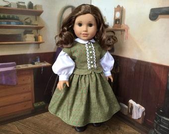 Green Rosebud 1860s Dress for 18 inch doll
