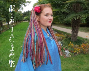 DREADLOCKS Pink Paradise DREAD FALLS boho dreads Gypsy Belly Dance hair extensions Tribal Fusion hair falls Goa Hippie hair piece 112 dreads