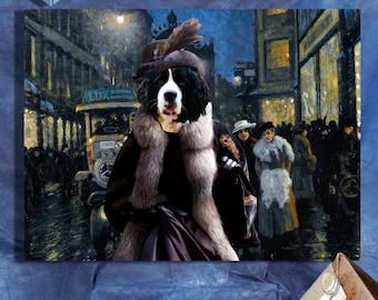 Landseer - Newfoundland Art/Landseer - Newfoundland Print/Newfie/CANVAS Print/Dog Portrait/Dog Painting/Dog Art/Dog Print/Custom Dog Art