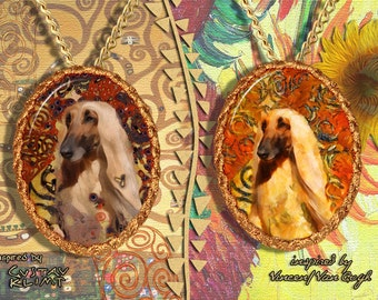 Afghan Hound Jewelry Pendant - Brooch Handcrafted Porcelain by Nobility Dogs - Gustav Klimt and Van Gogh