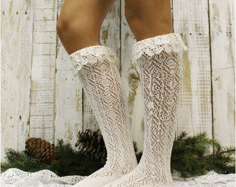 lace boot socks TARA cream Boot socks womens boot cuff socks lacey tall knee socks pointelle knit lace boot sock Catherine Cole Studio BCS6