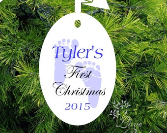 Baby's Christmas Ornament -Personalized Baby Boy Ornament - Baby's 1st Christmas Ornament